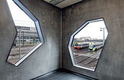 Irregularly shaped windows frame views of Melbourne's