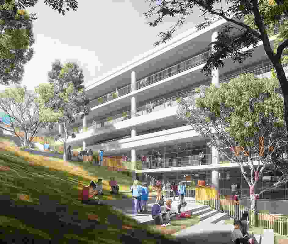The central landscape at Meadowbank Education Precinct by Woods Bagot.