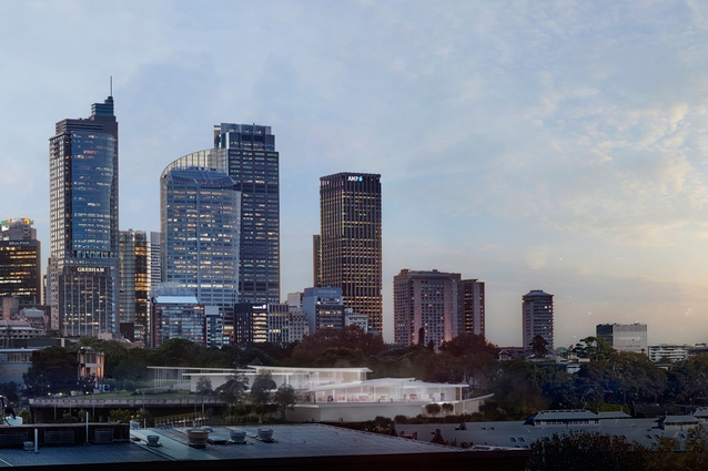 In progress image of Sydney Modern Project, dusk view from Woolloomooloo as produced by Kazuyo Sejima + Ryue Nishizawa / SANAA.