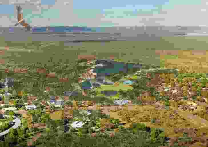 Aerial view of the Jabiru masterplan by NAAU and Enlocus.