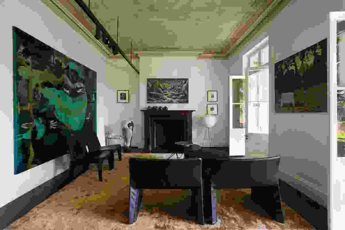 The formal living room is an adept counterpoint to the casual new works. Artwork (clockwise from left): Dale Frank; Peter Booth; David Keeling.