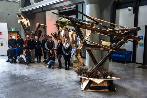 """University of Tasmania architecture and design students at the """"Species Hotels"""" exhibition at the Tasmanian College of the Arts in Inveresk, Tasmania."""