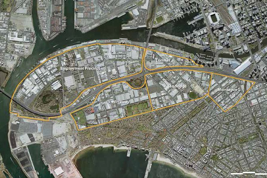 A map outlining the precincts in Fishermans Bend.