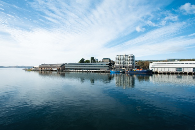 The scale and form of IMAS are informed by the adjacent buildings on Princes Wharf.