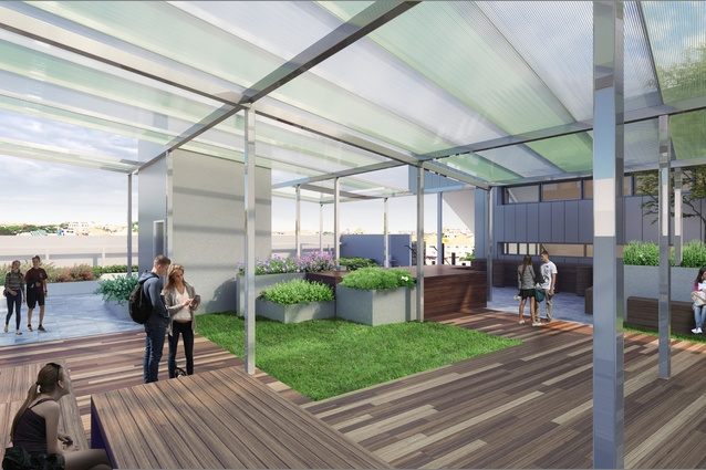 A rooftop play area of the proposed Prahran High School by Gray Puksand.