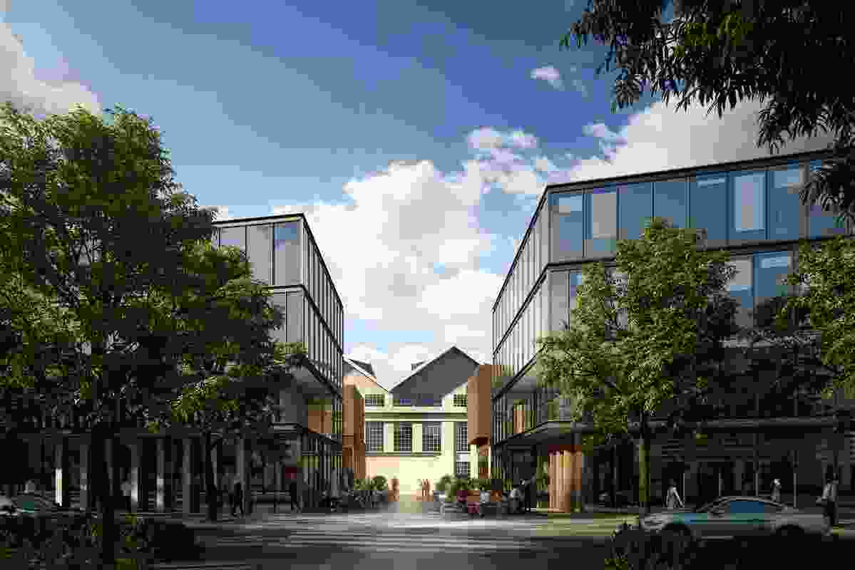 The proposed new buildings in the Kingston Arts Precinct by Fender Katsalidis and Oculus will frame views to heritage buildings.