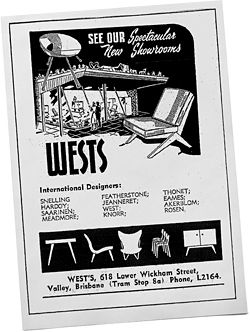Advertisement for Wests, House and Garden, 1954 (Knoll is misspelt).
