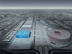 The Water Cube seen adjacent to Herzog and de Meuron's Olympic Stadium.