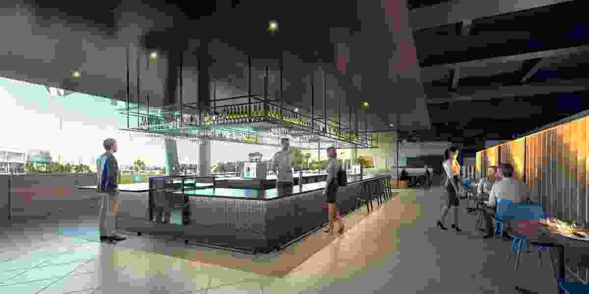 The new eastern entrance facilities at Rod Laver Arena designed by Cox Architecture.