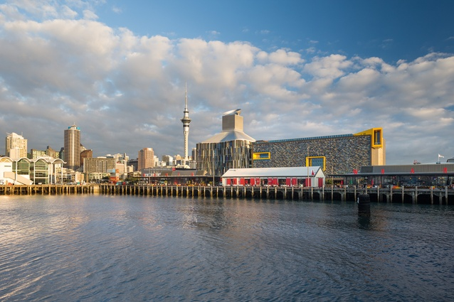 View of the ASB North Wharf building and Auckland City from the harbour.