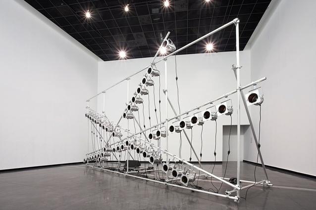 Marco Fusinato's, <em>Aetheric Plexus (Broken X)</em> sound & light installation.