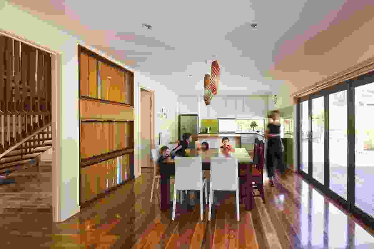 The north-facing, open-plan kitchen, living and dining area.
