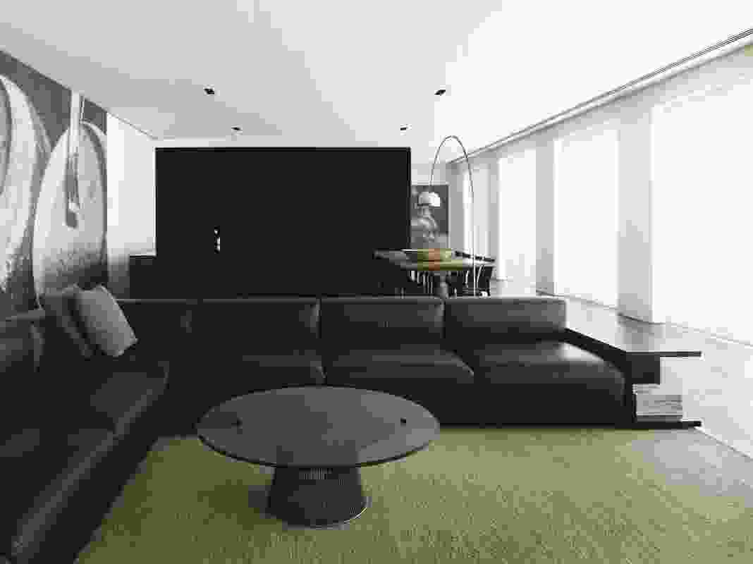 The open planning of the living area gives a sense of ample space.