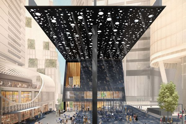 The proposed plaza and building on Sydney's George Street designed by David Adjaye and Daniel Boyd.