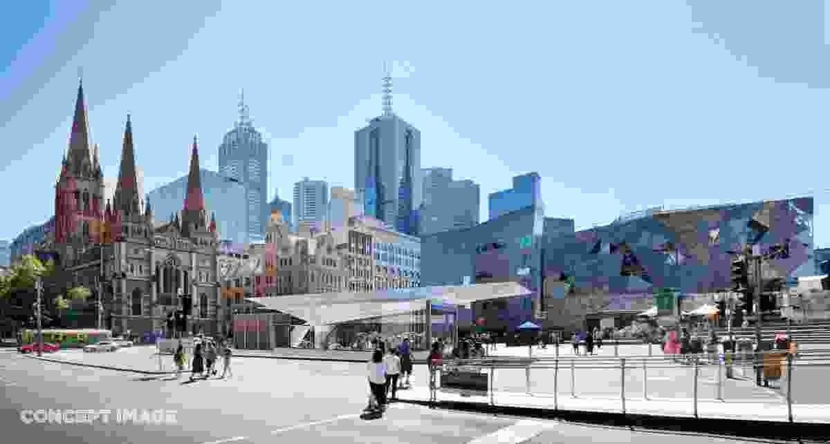 The final design for Town Hall station, Federation Square entrance, by Hassell, Weston Williamson and Rogers Stirk Harbour and Partners.