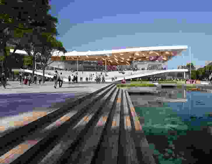 The proposed Sydney Fish Market designed by 3XN/GXN, BVN and Aspect Studios will incorporate public plazas and a foreshore promenade.