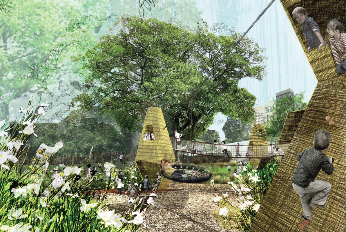 The proposed playground at Cook and Phillip Park in the Sydney CBD designed by Aspect Studios and Aileen Sage Architects.