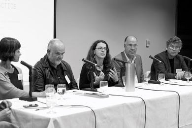 Panelists Natasha Palich, Jim Gall, Ceridwen Owen, Carey Lyon and Shane Murray.