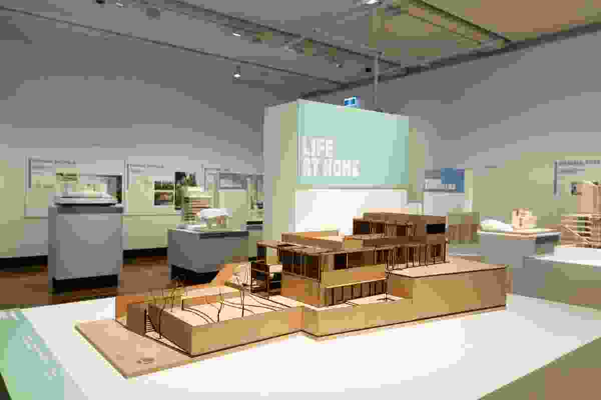 Living in the City exhibition at the Museum of Brisbane featuring a model of the Jubilee Hills Residence in Hyderabad, India by Research Design Office.