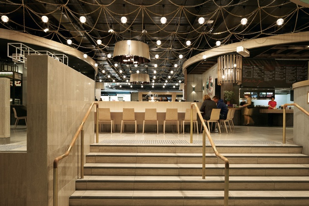 Designed by Russell & George, the cafe court is located on level three to draw visitors upwards through the centre.
