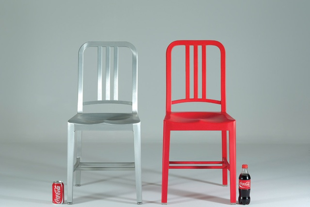The 111 Navy chair is so named because it is made from 111 recycled PET bottles.