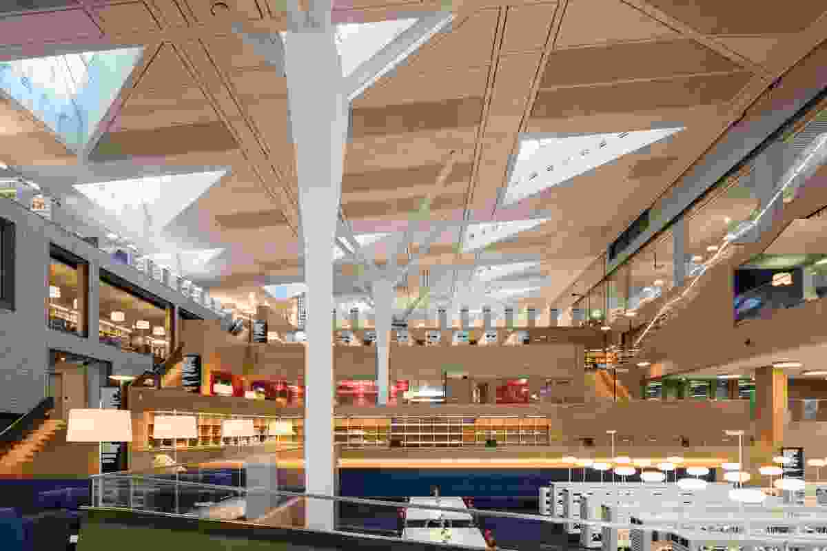 """""""An ascending landscape of reading decks"""" at the Luxembourg National Library by Bolles and Wilson."""