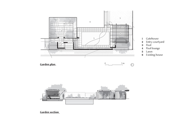 Plan and section of Bungalow Garden Rooms by Myers Ellyett and Dan Young Landscape Architect.