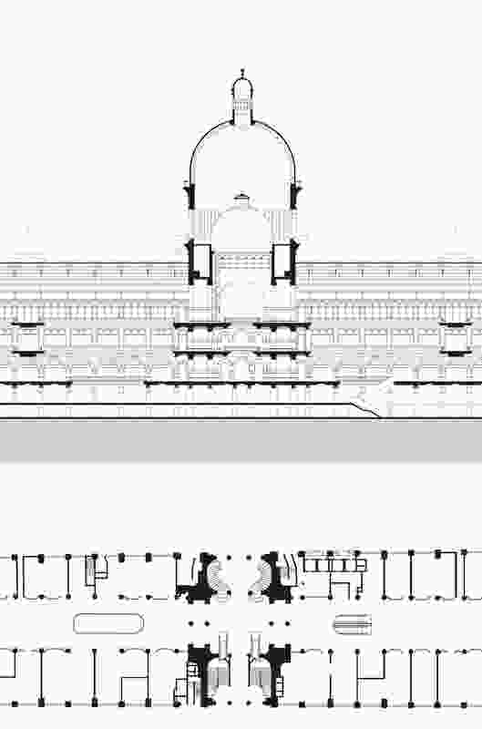 Queen Victoria Building plan and section, from Public Sydney: Drawing the City.