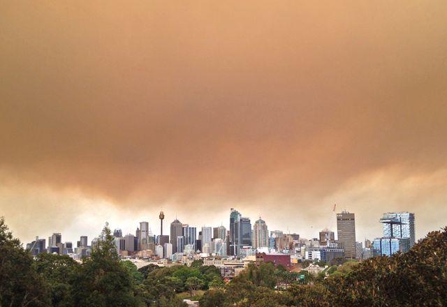 Bushfire haze over Sydney.