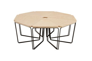 Fractal table in hoop pine ply or walnut from DesignByThem.