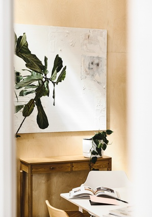 Plants from The Plant Society help to soften the space. Artwork: Anna Gibson.