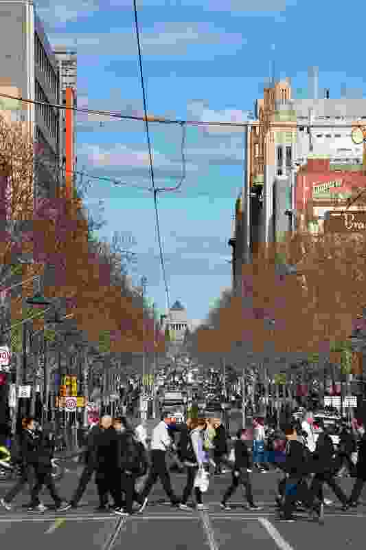 Looking towards the Shrine of Remembrance along Swanston St.