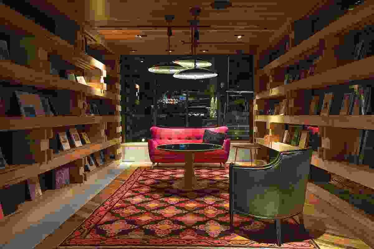 The hotel library is stocked with books about art, architecture and design.