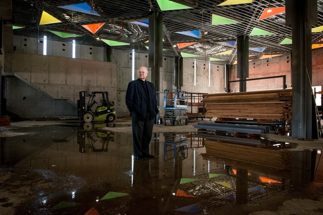 Glenn Murcutt inside the yet-unfinished Australian Islamic Centre in Newport.