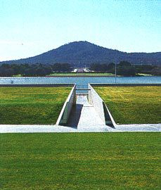 Looking down the ramp, which cuts through Commonwealth Place, along the Land