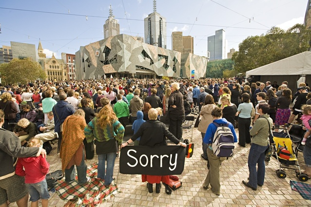 Melbourne unites at Federation Square in 2008 for Sorry Day.