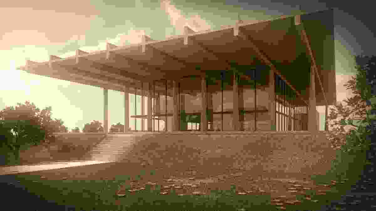 The Great Hall, University of Queensland (competition entry 1962) in Brisbane by Stuart McIntosh. Digital reconstruction by Daniel Giuffre and Paul Sawyer.