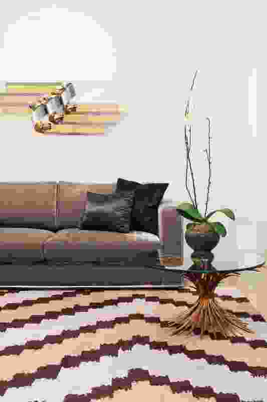 The Martin sofa by David Hicks is seen here with his Cadrys Zig Zag rug. Artwork: Curtis Jere.