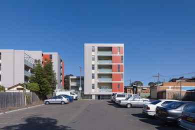 View west between the two buildings in the Dutton Street project