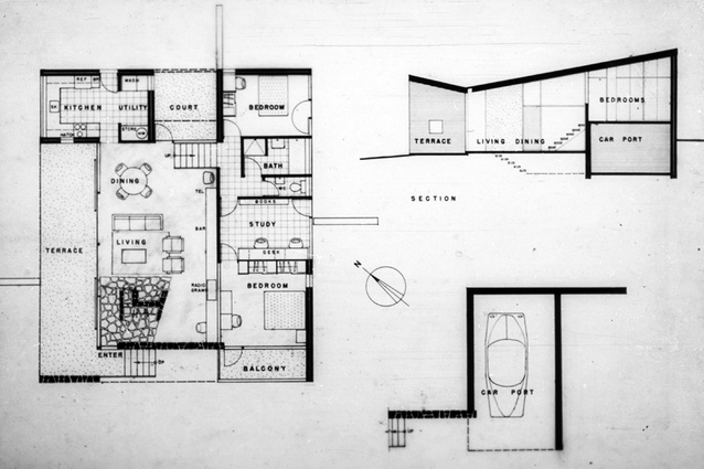 Plan and section of Bowden House by Harry Seidler (1954).
