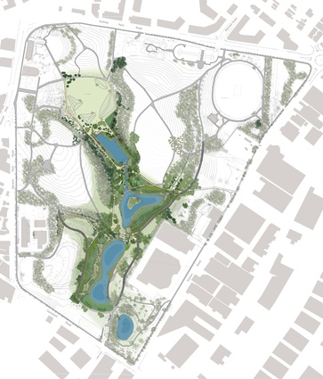 Sydney Park plan. The wetlands from top (north): Wirrambi Wetland, Guwali Wetland, Bunmarra Wetland and Gilbanung Wetland.