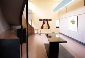 """The triple height """"open plan"""" central living area of Maison La Roche."""