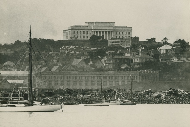 A view of the Auckland War Memorial Museum from Mechanics Bay in 1929.