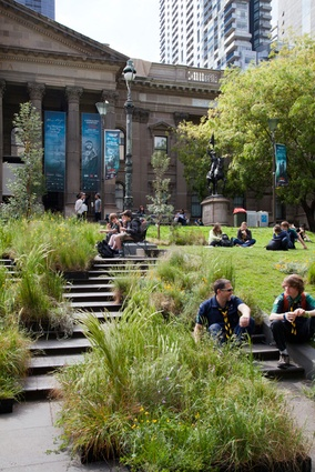 Grasslands installation by Linda Tegg at the State Library of Victoria.