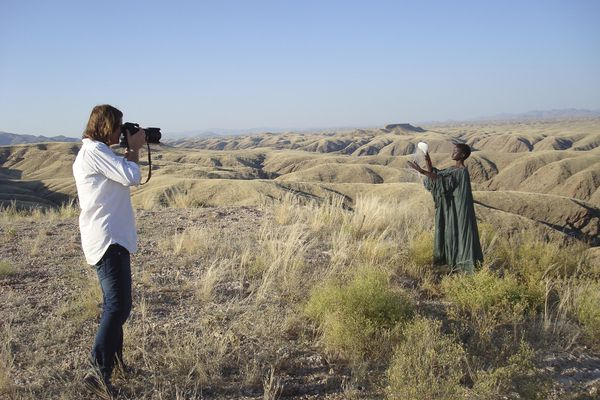 Photos being taken in the Namibian desert for the  2012 Hansgrohe calendar.