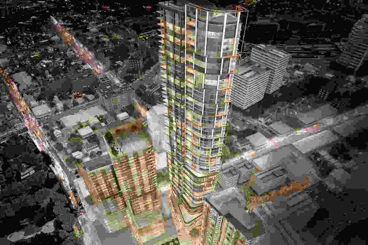 Aerial view of the 60- and 25-storey towers by PTW Architects and 35-storey by Collins and Turner.