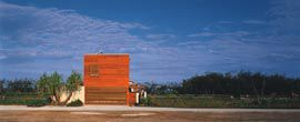 """The simple form of the """"sleeping box"""", seen from the street.Image: Brett Boardman"""