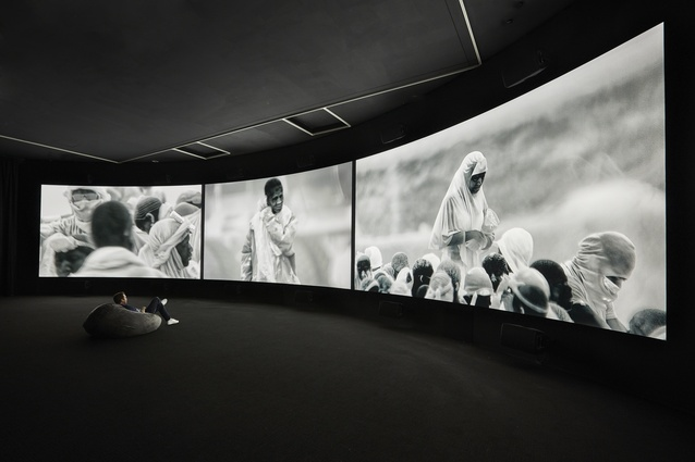 Installation view of Richard Mosse's <i>Incoming</i> 2015 – 2016 which is on display in NGV Triennial at NGV International, 2017.