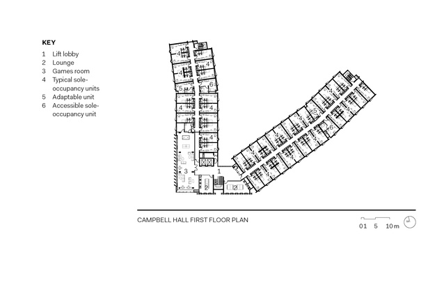 Campbell Hall first floor plan.