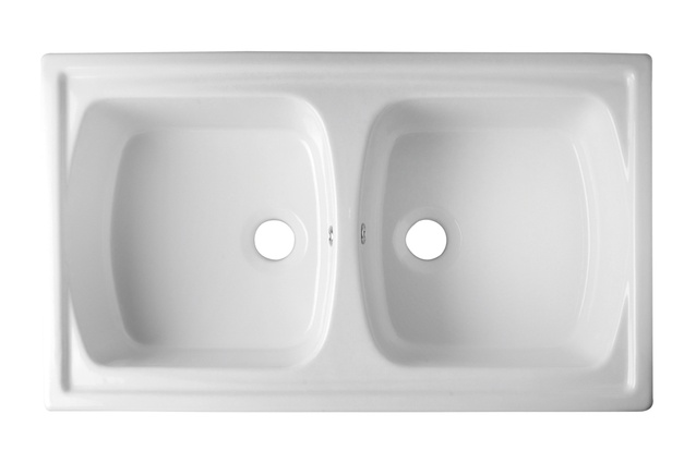 Acquello fireclay double inset sink.